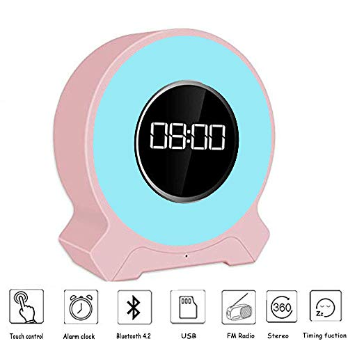 Aisuo Radio Alarm Clock - Night Light with Bluetooth 4.2 Speaker, Dimmable Function, Rechargeable Lithium Battery, SD Card & Aux Line Supported, Ideal Gift for Kids, Children, Friends.