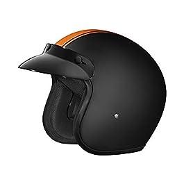 Studds JETSTAR Classic D3 Orange Strip Open Face Helmet (Matt Black, XL)