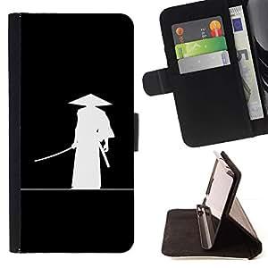 Momo Phone Case / Flip Funda de Cuero Case Cover - Chino antiguo guerrero Sombrero Negro blanco del arte - Sony Xperia Z5 Compact Z5 Mini (Not for Normal Z5)