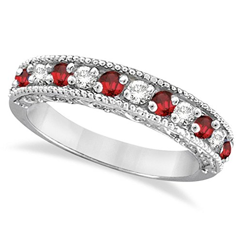 Diamond & Ruby Anniversary Ring - Diamond and Ruby Ring Anniversary Band 14k White Gold (0.59ct)