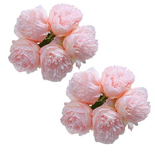 (U'Artlines 2Bouquet 10Heads Artificial Peony Silk Flower Leaf Home Office Wedding Party Festival Bar Decor (Light Pink))
