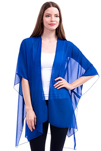 Modern Kiwi Solid Sheer Chiffon Kimono Cardigan Royal Blue One Size