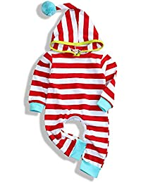 47fd20ae0 Newborn Infant Baby Boy Girl Romper Long Sleeve Stripe Hooded Crawling Suit  Outfits