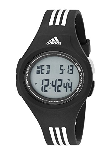 [adidas Men's ADP3174 Uraha Digital Black Watch with Striped Band] (Adidas Sport Performance Buckle)