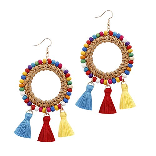 Women's Rattan Wooden Beads Long Drop Dangel Circle Earrings Statement Jewelry with Colorful Tassel