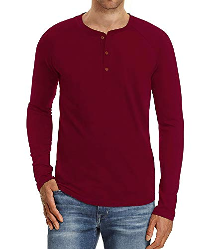 PEGENO Men's Casual Slim Fit Long Sleeve Henley T-Shirts Cotton Shirts Wine Red-US XL