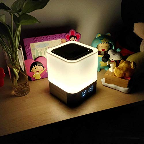 Night Light - 5 in 1 Bedside Lamp with Bluetooth Speaker, Touch Control & 4000mAh Battery, 12/24H Digital Calendar Alarm Clock, Support TF and SD Card, Best Gift for Bedrooms Kids
