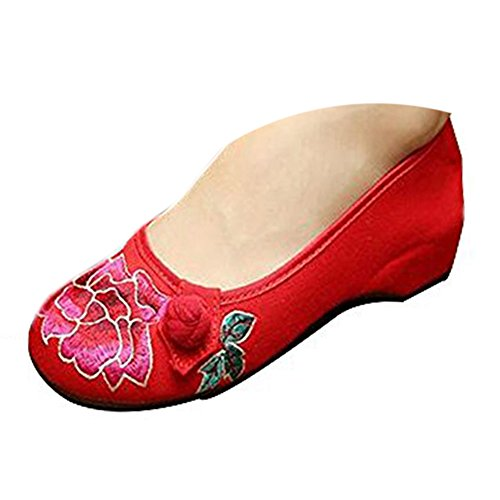 Jane MUDAN Donne Vintage Ballet Kangzy Ricamato Ballerina Scarpe Floreale Rosso Piatto Cinese Mary Cotone 4zYwSq