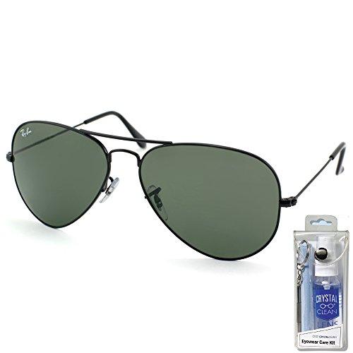 Ray Ban RB3025 L2823 58mm Black w/ Green Lens Aviator Sunglasses Bundle-2 - Rb3025 L2823
