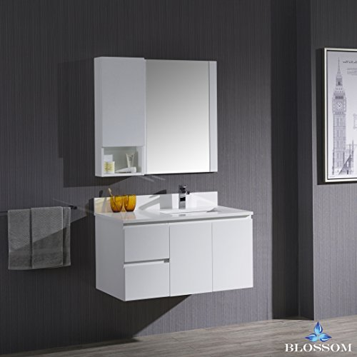 BLOSSOM 000-36-01-R-WH-M Monaco 36″ Wall Mount Right Vanity Set with Mirror and Wall Cabinet Matte White