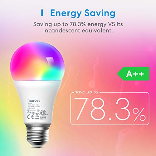 Smart Light Bulb, meross Smart WiFi LED Bulbs Works with Alexa, Google Home, Dimmable E26 Multicolor 2700K-6500K RGB, 810 Lumens 60W Equivalent, No Hub Required, 2 Pack