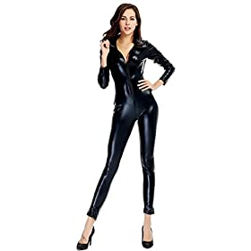 - 41lSOBybstL - Ensnovo Womens Shiny Metallic Lycra Spandex Shirt Collar Zipper Catsuits