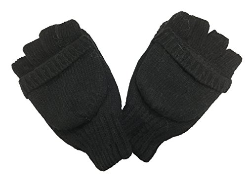 Men's Winter Gloves Mittens Fingerless Wool Gloves Double Th