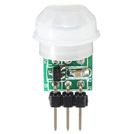 SODIAL Mini modulo de detector sensor humano del movimiento del cuerpo PIR piroelectrico infrarrojo IR