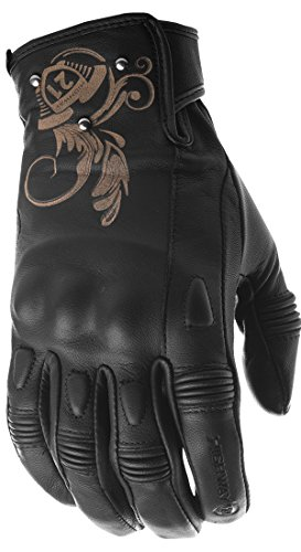 Baby Goat Leather - Highway 21 Black Ivy Women's Motorcycle Gloves Goat Skin Leather Memory Foam Padded Black Size Medium