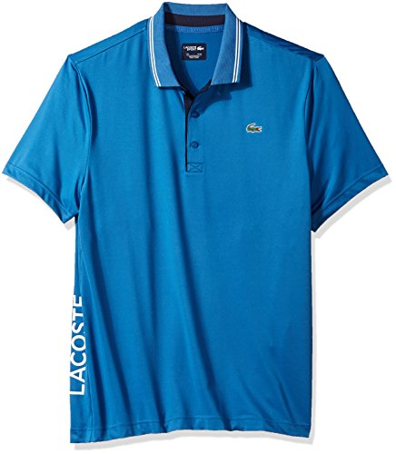 (Lacoste Men's Short Sleeve Jersey with Jacquard Collar & Contrast Piping Polo, DH3360 Medway/Navy Blue-White X-Large)