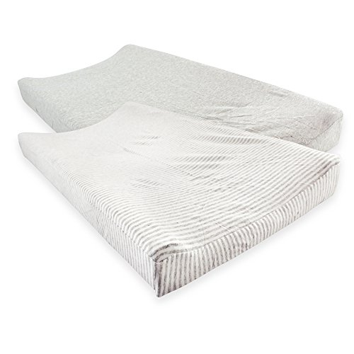 Touched by Nature Organic Cotton Changing Pad Cover, 2 Pack, Heather Gray, One Size