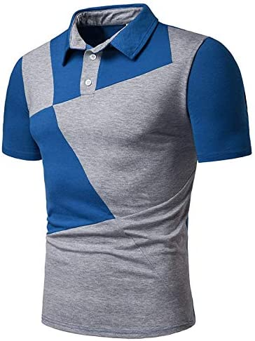 STORTO Mens Casual Polo Shirts Splicing Colorful Business Fashion Short Sleeve Regular Fit Tops