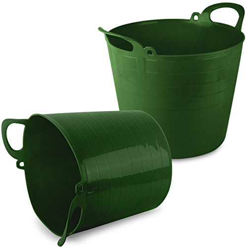 2 Pack of TheChemicalHut® 26 Litre Extra Strong Green Flexi Tub / Storage / Builders / Garden Bucket.
