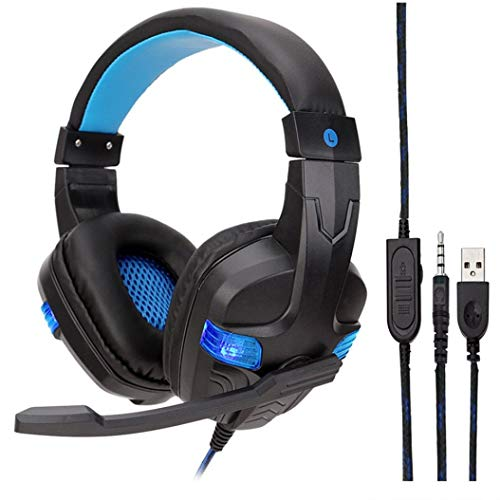 Price comparison product image Buybuybuy Gaming Headset with Mic for PC, PS4, Xbox One, Over-ear Headphones with Volume Control LED Light Cool Style Stereo, Noise Reduction for Laptops, Smartphone, Computer (Blue)
