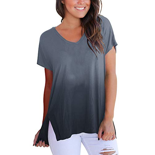 TnaIolral Women Tops Short Sleeve V-Neck Gradient Colour Loose Tee T-Shirt by TnaIolral (Image #1)