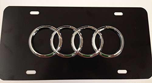 Audi Chrome 3D Stainless Steel Black Front License Plate with Matching screw caps