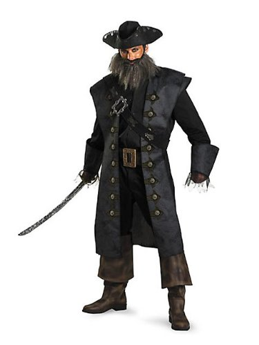 Black Beard Deluxe Adult Costume - (Blackbeard Costume Beard)