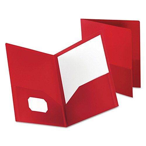 Oxford 57411 Poly Twin-Pocket Folder, Holds 100 Sheets, Opaque Red