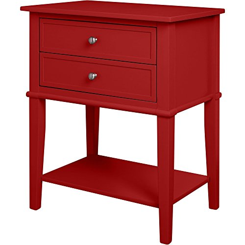 Contemporary Wood Accent Side Table with 2 Drawers and Lower Open Shelf - Includes Modhaus Living Pen (Red)