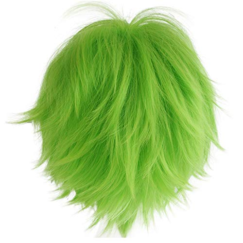 Alacos Fashion Unisex Style Fancy Cosplay Wig Short Anime Hair Green Wig Hair + Wig Cap