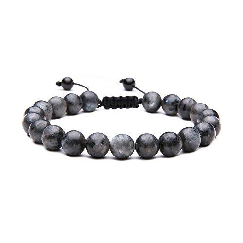 MAOCEN Handmade Mens Bracelets 8mm Healing Energy Stone Bead Size Adjustable