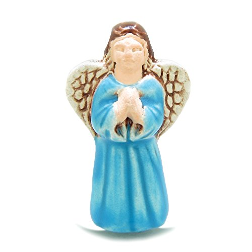 Praying Angel Charm - 10 Pieces DIY 3D Ceramic Handcrafted Guardian Praying Sky Blue Angel 31mm X 17mm 2mm Hole Painted Beads
