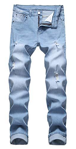 GARMOY Mens Mid Waist Casual Skinny Ripped Jeans Straight Leg Distressed Denim Pants 995 Light Blue 32
