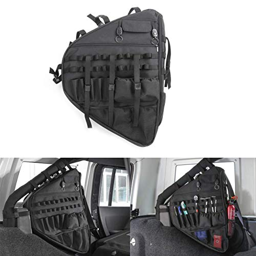 JeCar Roll Bar Storage Bag Organizers with Multi-Pockets & Saddlebag Tool Kits Gadget Holder for 2018 Jeep Wrangler JL 4-door (Left - Saddlebag Nylon Cordura