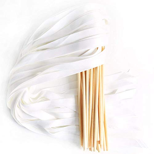 LaRibbons 20pcs Single Color Ribbons Wand Sticks Wedding Party Favor ()