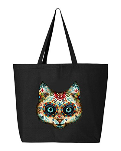 Shop4Ever Sugar Skull Cat Heavy Canvas Tote Day of the Dead Reusable Shopping Bag 10 oz Black 1 Pack (Sugar Skull Cat)