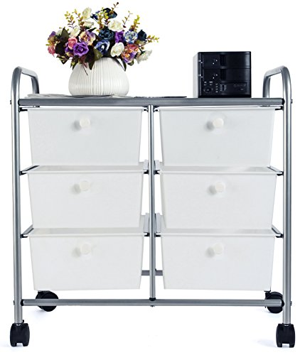 EaseOffice 6-Drawer Rolling Storage Cart with Heavy Duty Chrome Steel Frame for Home, Office, Beauty Salon and More, White