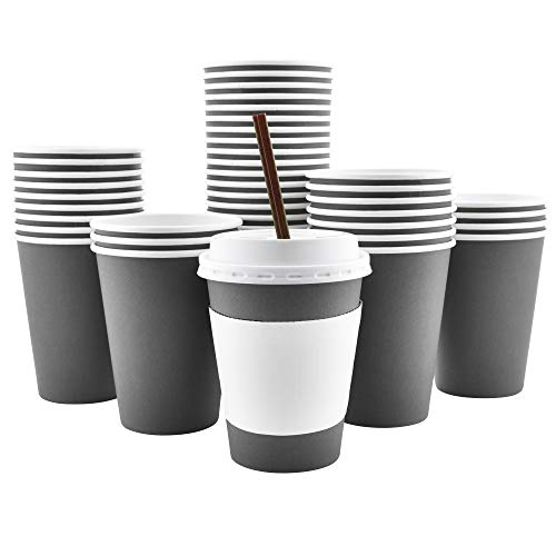 - 100 Pack - 12 Oz [16 Oz] [4 Colors] Disposable Hot Paper Coffee Cups, Lids, Sleeves, Stirring Straws - Slate Gray