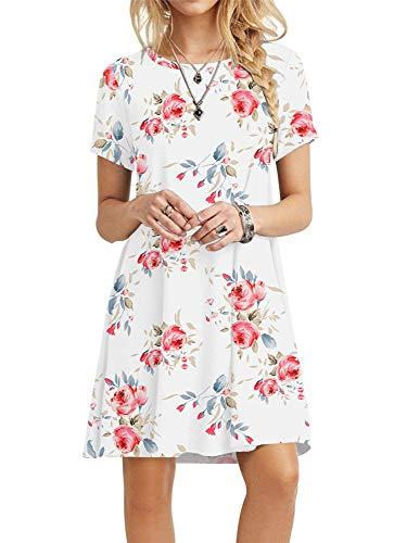 POPYOUNG Women's Summer Casual T-Shirt Dresses Beach Dress X-Small, Floral White from POPYOUNG