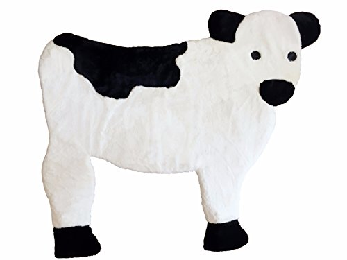Baby Cow Nursery Rug, Play Mat, Blanket Or Bed Cover in Plush Faux Fur with Non-Slip Suede Backing by RUGZIES