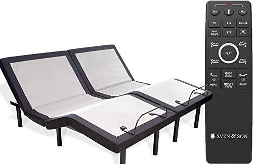 Split King Adjustable Bed Base Frame (Head Tilt) 5 Minute Assembly, Head & Foot Articulation, USB Ports, Zero Gravity, Interactive Dual Massage, Wireless, Classic by Sven & Son (Split King) (Foot Tilt)