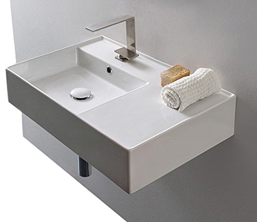 - Scarabeo Scarabeo 5114-One Hole Ceramic Wall Mounted Rectangular Bathroom Sink, 23.62 x 17.32 x 5.51 inches, White