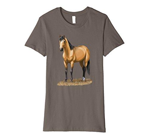 Buckskin Quarter Horse (Womens Beautiful Buckskin Dun Quarter Horse T-shirt Small Asphalt)