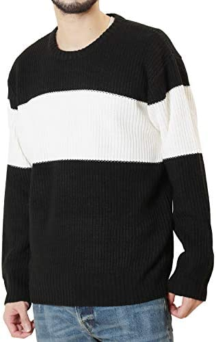 JIGGYS SHOP セーター メンズ 畦編みニット クルーネック&タートルネック 長袖 無地