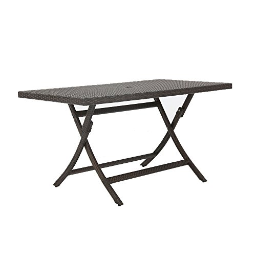 Baner Garden E06 Outdoor Furniture Resin Wicker Rattan Folding Aluminum Rectangle Table with Umbrella Hole, Black