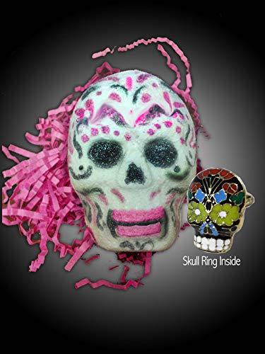 SpaGlo Sugar Skull Bath Bomb with Sugar Skull Ring- Jumbo 9.5 oz Size - Sandalwood, Oakmos & Nag Champa Scented-