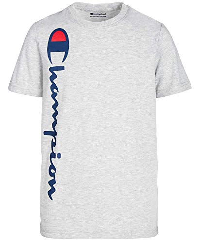 Champion Big Boys' Heritage Short Sleeve Tee, Oxford Heather/Champion Vertical Script, X-Large