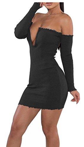 Jaycargogo Robe De Soirée Moulante En Tricot Shouder Occasionnel Au Large Des Femmes Noires