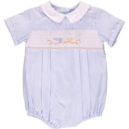 Carriage Boutique Baby Boys Hand Smocked Classic Creeper - Blue Birds on Tree, 3M (Clothes Smocked)