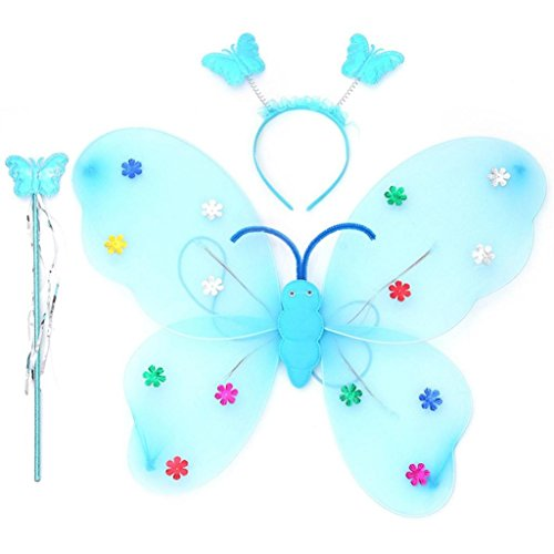 TLoowy™ 2017 New Halloween Girls LED Butterfly Fairy Wings Wand Headband Dress up Costume 3pcs/Set (blue) ()